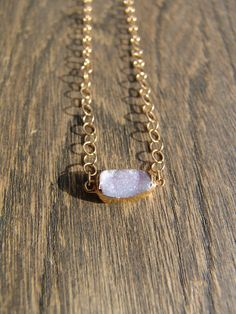 Gorgeous White And Baby Pink Druzy Agate Geode Necklace