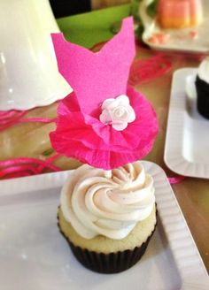 Ballerina cupcake topper, crepe paper tutu,  pink tutu