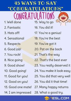 Congratulations Synonym: 45 Ways to Say Congratulations - 7 E S L Congratulations Synonym! List of many different ways to say Congratulations in English with ESL pictures. Learn these synonyms for congratulations to increase y English Learning Spoken, Learn English Grammar, English Writing Skills, English Vocabulary Words, English Idioms, Learn English Words, English Phrases, English Language Learning, English Study