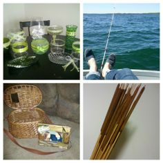 A fishing themed wedding with a fish bowl candy buffet, vintage tackle box card basket, and cattail center pieces.