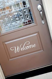 "This is the front door to my house. I added a vinyl welcome sticker..see more ""Wall Word"" ideas at www.itsybelle.com"