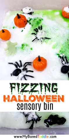 Halloween Fizzing Science Sensory Bin - vinegar and baking soda -