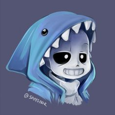 sanspar:  sans with shark hoodie