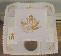 Altar Linens-Gold/Wheat IHS-Corporal&Pall&Purificator&FingerTowel-Holy Mass-