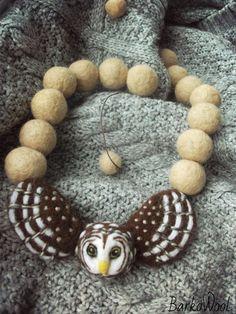 """Купить Валяные бусы """"OWL"""" - коричневый, бежевый, сова, сыч, Валяние, валяные бусы"""