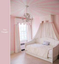 kids bedroom + pink ceiling