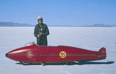 Burt Munro with his world's fastest Indian