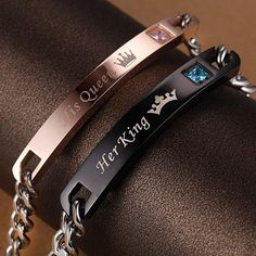 "Fashion Couple Lover Bracelet Couple Jewelry His And Her ""Her King His Queen"" Bracelet Couple, Matching Couple Bracelets, Couple Jewelry, Bracelet Set, Cute Bracelets, Fashion Bracelets, Bangle Bracelets, Bangles, Fashion Jewelry"