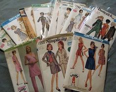 lot of 11 1960's 1970's patterns.  Sz for Junior, Junior petite, and Junior plus.  Ranging from 7 to 14.   Original prices 75 cents to 85 cents.  from various sources and have been in storage.  Some of them do have a touch of musty odor.  Envelopes are in fair condition for their age.   we can not guarantee pet free smoke free past homes.  We have not counted the pieces to be certain they are all there.   *** All patterns are cut.***