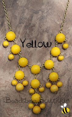Mini Bubble Necklace Yellow bubble Necklace by BeadsbeeBoutique, $13.00