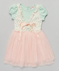 Loving this Pink & Green Lace Tulle Skater Dress - Toddler & Girls on #zulily! #zulilyfinds