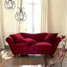 lush garnet sofa for the paris apartment