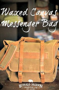 """Made of rugged waxed canvas with whiskey leather straps and details, the Elkton Satchel / Messenger Bag delivers on a promise of quality and class. Interior foam lined for up to 15"""" laptop and electronics. Durable. Rugged. Classic. satchel bag 