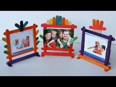 Crafts With Popsicle Sticks Popsicle Stick Crafts Popsicle Stick Picture Frame, Popsicle Stick Crafts For Kids, Popsicle Sticks, Craft Stick Crafts, Kids Crafts, Easy Crafts, Easy Diy, Cadre Photo Simple, Simple Photo Frame