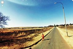 Escaping prisoner.This is actually a real prisoner on the run as seen by the Google Street View Car