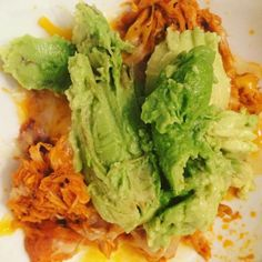 Slow cooker pulled chicken with avocado! The chicken is so easy. 4 organic chicken breast a stick of Kerrygold butter 1  cups of Franks Red Hot Sauce and pepper. Cooked on low for about 6-7hrs. You can serve this so many ways with blue cheese crumbles in lettuce wraps in low carb tacos on a salad or how I did here. Hey ladies go grab your free Journal/planner  a weeks worth of lessons that I created. It will help you on your journey guaranteed! Link in bio #keto #lchfdiet #lchf #lowcarb…