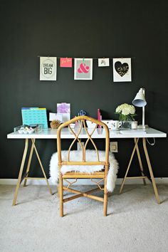 Burlap & Lace: Black Accent Wall and Office Updates