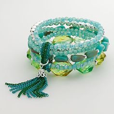 Candie's Silver Tone Bead and Fringe Stretch Bracelet ~ No colored chain? Chain stitch embroidery floss for a similar effect! Love the mixed layers of cooling colors.