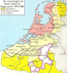 Parma vernietigt bijna de opstand in de Lage Landen Parma, History Class, Family History, Early World Maps, Holland Map, European Map, Kingdom Of The Netherlands, Classical Antiquity, Old Maps