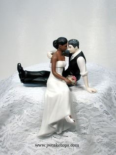 Dark Brown Skin Tone Bride and Caucasian Groom with Salt and Pepper Hair Color