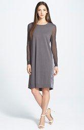 Lafayette 148 New York Sheer Sleeve Mixed Media Dress