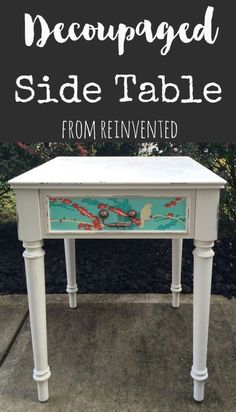 Decoupaged Side Table from Reinvented