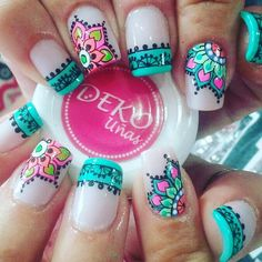 Ven a nuestro spa en Medellín, centro comercial plazuelas de San Diego, local Tel 2329200 Whatsapp Deko por… Gorgeous Nails, Love Nails, Pretty Nails, Fun Nails, Mandala Nails, Cute Nail Designs, Cool Nail Art, Manicure And Pedicure, Beauty Nails