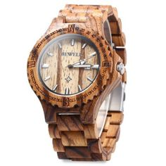 BEWELL ZS - W023A Wooden Date Quartz Wrist Watch for Men-21.75 and Free Shipping| GearBest.com