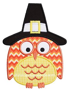 Thanksgiving Owl Applique Design