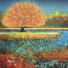 """FOREST FALL CANVAS 34W/""""X40H/"""" LATE AUTUMN by TERUKO WILDE"""