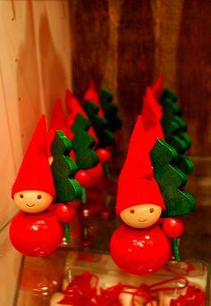 Joulu taulukossa tonttu::Finnish Elf Ornaments for the table from Aarikka. Woodland Christmas, Christmas Makes, Scandinavian Christmas, Christmas Design, Christmas Elf, White Christmas, Christmas Crafts, Christmas Decorations, Christmas Ornaments