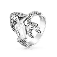 Bling Jewelry 925 Sterling Silver Antique Style Nautical Sea Nymph Mermaid Ring | eBay