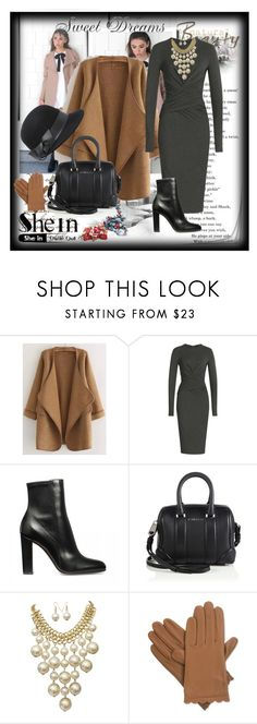 """Khaki Long Sleeve Stitch Pocket Loose"" by suadapolyvore ❤ liked on Polyvore featuring Donna Karan, Givenchy, Isotoner, Bebe, contest and simplybeautiful"