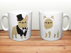 Sophisticated Pup - Wedding French Bulldog Ceramic Mugs , $39.99 (http://www.sophisticatedpup.com/french-bulldog-coffee-mugs-wedding-frenchies-ceramic-mugs-french-bulldog-lover-wedding-gift-frenchie-mugs-set-of-2-mugs/)