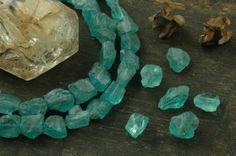 "Rough Seas: Apatite Rough Nugget Beads / 10 beads, 4"", 6x10mm / Ocean Blue Natural Gemstone / Organic, Earthy Jewelry Making Supplies"