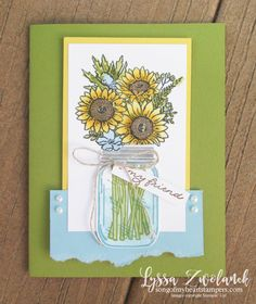 June 2020 Class of the Month Club is here! Jar of Flowers bundle Paper Flowers Craft, Flower Crafts, Paper Crafts, Pots, Sunflower Cards, Stamping Up, Rubber Stamping, Stampin Up Catalog, Fun Fold Cards