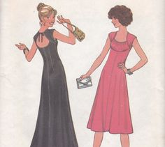 Gorgeous 1970s Aline Dress Pattern Simplicity by OneMoreCupOfTea, $9.00