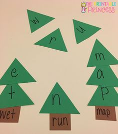 Christmas tree CVC words. Could also use for sight words.