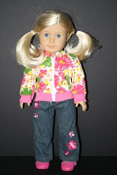 Flower Power Jeans and Hoodie Set for American Girl Doll $17.50