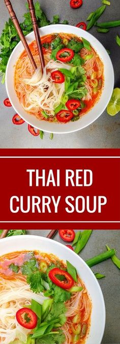 Thai Red Curry Soup - A simple Thai red curry soup that is bursting with flavours of Thailand! Whip it up in only 30 minutes! Thai Recipes, Asian Recipes, Soup Recipes, Vegetarian Recipes, Healthy Recipes, Vegan Meals, Curry Recipes, Rice Recipes, Vegan Food