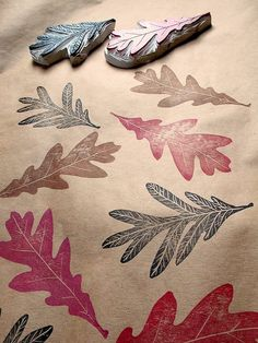 oak stamps - or other design. Make your own wrapping paper with paper bags