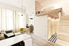 See How This Teeny Apartment Doesn't Sacrifice Beauty #refinery29  http://www.refinery29.com/living-in-a-shoebox/10#slide-1  Here's a great view of almost the entire place. It's obviously small, but it's so well-appointed that it doesn't look cramped.