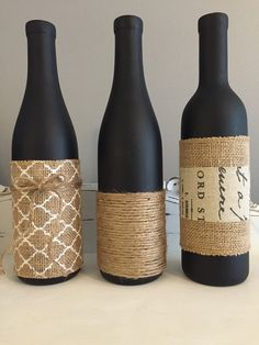 Chalk Painted Wine Bottle Vases by torches123 on Etsy