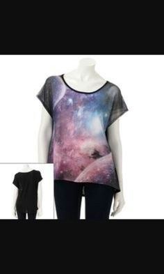 81b766b459 About A Girl tops at Kohl s - This juniors  tee features an outer space  graphic and a hi-low hem. Shop our entire selection of tops at Kohl s.