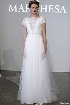 marchesa bridal spring 2015 short sleeve high illuson v neck wedidng dress