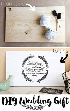 Expensive Looking DIY Wedding Gift Ideas - Love Quote Pallet Decor - Easy and Unique Homemade Gift Ideas for Bride and Groom - Cheap Presents You Can Make for the Couple- for the Home, From The Kids, Personalized Ideas for Parents and Bridesmaids | http://diyjoy.com/cheap-diy-wedding-gifts