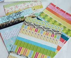 she was left with smaller scraps, but she put them to good use, too!  She created 8.5″x11″ pages of small strips of paper then used those sheets to create cards!  Super smart!