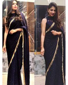 Black georgette partywear saree