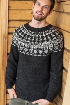 Нарядная модель мужского свитера с круглой кокеткой, связанного на спицах 4 мм из теплой пряжи. Вязание свитера начинается от нижнего... Owl Sweater, Fair Isle Knitting, Pullover, Stockinette, Sweater Design, Knit Patterns, Types Of Shirts, Knit Crochet, Aurora