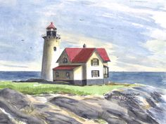 Cape Neddick (Nubble),  York Watercolor prints and note cards of over 250 lighthouses all over the USA. Start your collection today. Original paintings by sailor/artist Alfred La Banca, Darien, CT